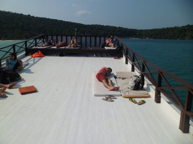 The deck on the top of the boat.