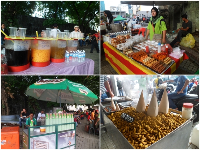 Street foods at Merdeka Square, where the protest was taken place at that moment