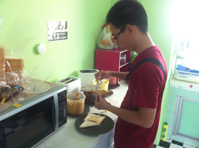 Self-made breakfast at Traveller@SG Hostel